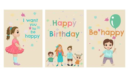 Happy birthday card set. Childrens holiday. Vector illustration