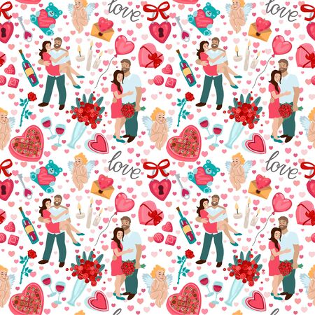 Seamless pattern for Valentines day or wedding design. Couple in love hugging. Man carry woman in arms. Romance or love clip art. Flat vector illustration. Isolated on white background Standard-Bild - 138886739