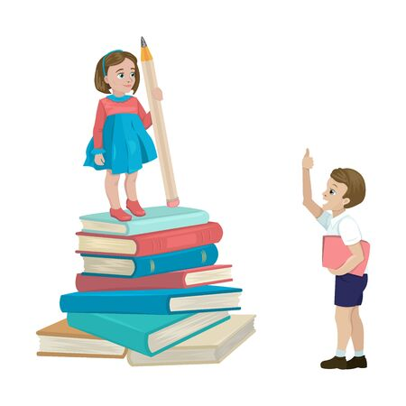 The girl holds a huge pencil, passed the exam, stands on textbooks. The guy shows a thumbs up, praises for achievements in studies. Vector cartoon flat illustration Vettoriali