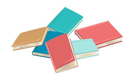 Different flowers books, notebooks or diaries are in the spread. Sale on books, free library, readers rent books. Vector flat cartoon illustration on white background.