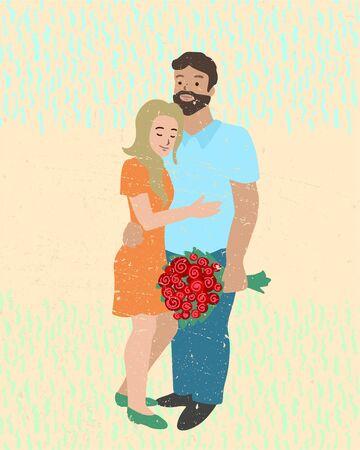 Happy couple in love hugging. Vector illustration