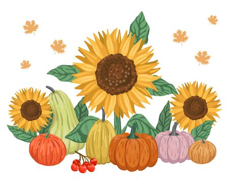 Autumn harvest, berries and sunflowers. Cartoon vector illustration isolated on white background. Stok Fotoğraf - 139306969
