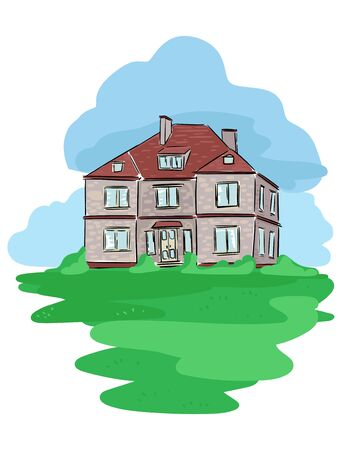 House. Old family cottage. Lawn and sky. Hand-drawn picture. Vector illustration