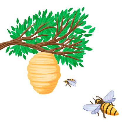 Bees are flying to the hive on a tree branch. Vector illustration