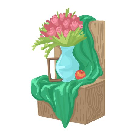 Still life with flowers, a vase and fruit on a cloth, a painting lesson, a studio for an artist, children creativity. Vector cartoon flat style illustration on white background.
