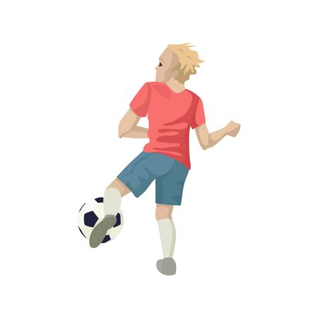 Football player kicks the ball. View from the back. Vector illustration of character.