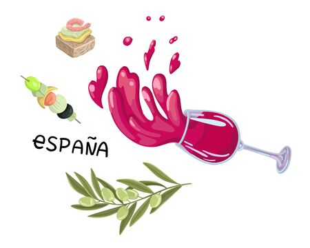 Wine and tapas, a splash of drinks in a wine glass. Symbols of food in Spain. Vector illustration