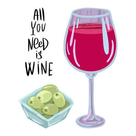 Splash of red wine from a wine glass, lettering from behind. Olives in a plate. Vector illustration for print design.