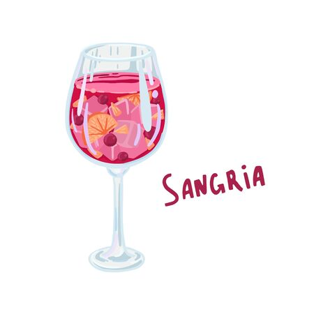 Sangria. Wine glass with red wine and fruit, spanish drink. Vector illustration