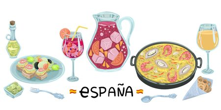 Jug and wine glass with sangria, paella and dinner in a cafe, tapas and cutlery. Vector illustration
