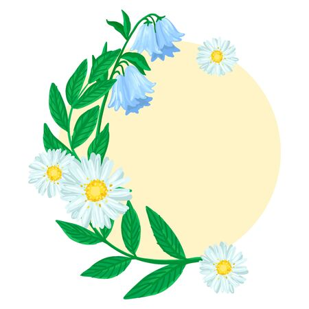 Round frame with flowers. Chamomile and bells. Vector illustration