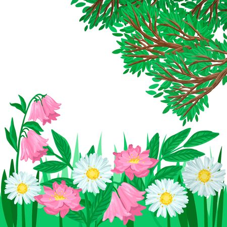 Summer landscape, grass and blooming flowers, green tree. Vector illustration