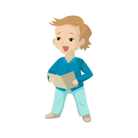 A boy at school, sings at a music lesson, a children hobby, a pot with lyrics in a notebook, read words, speak a speech. Vector character in cartoon flat style on a white background Stock Illustratie