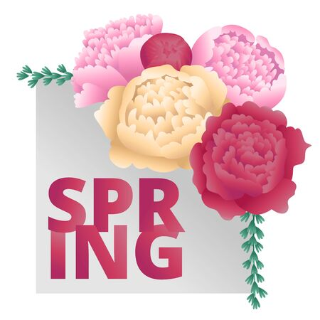 Floral bouquets of peonies and plants on silver banner. Square cards. Spring floral design. For suggestions and congratulations to the holiday of spring - March 8