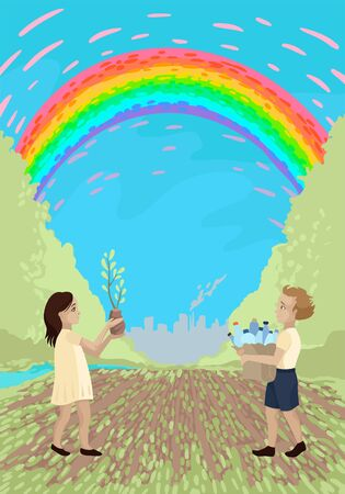 Young environmentalists, children save nature, collect garbage and plastic, plant new trees, an empty field, smoke from the plant, teach children the rules of ecology. Vector flat cartoon illustration
