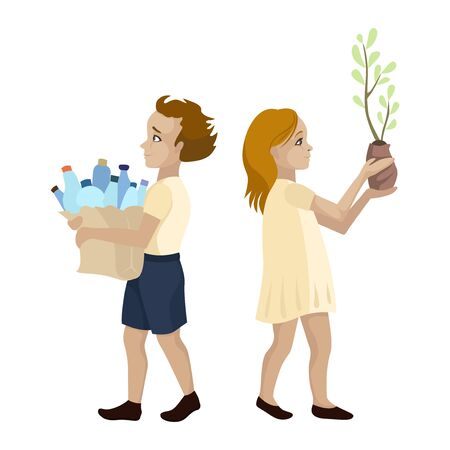 Children volunteers collect plastic and plant trees. Save the ecology of the planet. Vector characters
