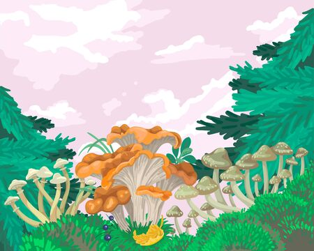White and red mushrooms, mycelium in the forest, we can and Christmas trees grow. Harvesting in summer and autumn. Vector concept flat illustration in cartoon style Illustration