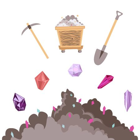 Mining mineral color icons set. Mining mineral color icons set. Trolley, minerals and tools. Vector illustration Ilustrace