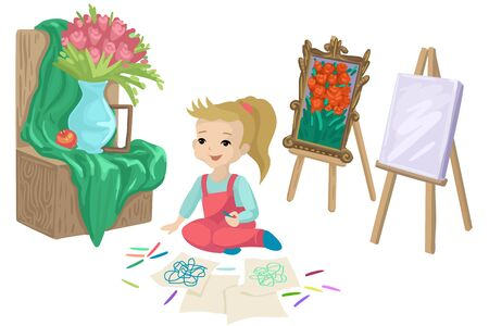 A child in a painting studio. Draws on the floor. Painting and still life nearby. Vector illustration