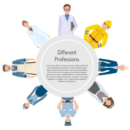 People of different professions. Frame and diffrent characters on a white background. Vector illustration