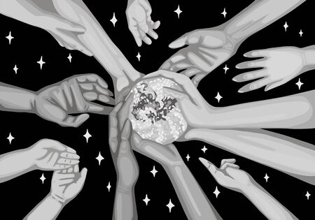 Hands hold the planet, children pull their hands to Earth. Save the planet, Earth day. Vector black and white illustration