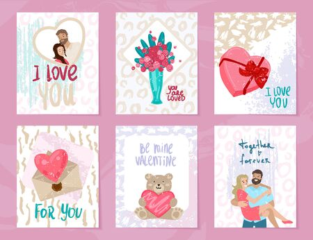 Collection of Valentines day card. Vector illustration