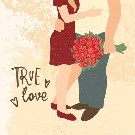 Couple hugging. Man with bouquet of flowers. Man and woman embracing each other affectionately. Greeting card for Happy Valentines Day. Boyfriend and girlfriend. Vector cartoon illustration concept