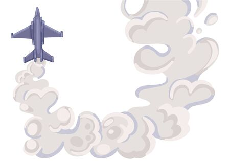 Military fighter jet with grey trail smoke. Air show. Vector illustration