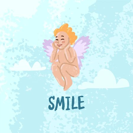 Funny little cupid smiling. Vector illustration concept