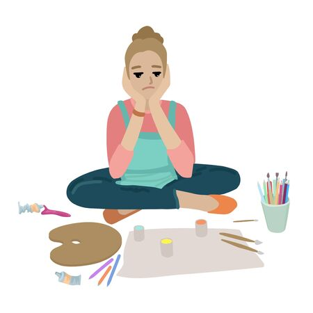 Woman sitting on the floor and holds her head. Brushes, palette, cuvette with paints and blank paper around. Stationery, art goods in a glass. Isolated objects on white background. Flat style cartoon drawing