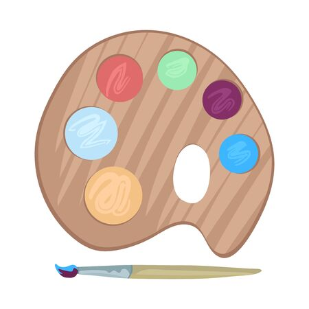 Wooden palette with paints and brush. Elements of painting materials, supplies. Symbol for painting lessons or art school. Isolated on white background. Flat cartoon style vector drawing