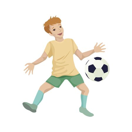 Child boy soccer player in training. Catching the ball. Character vector illustration Stock Illustratie