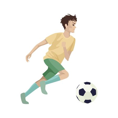 The player runs for the ball. Football competitions. Vector character Stock Illustratie