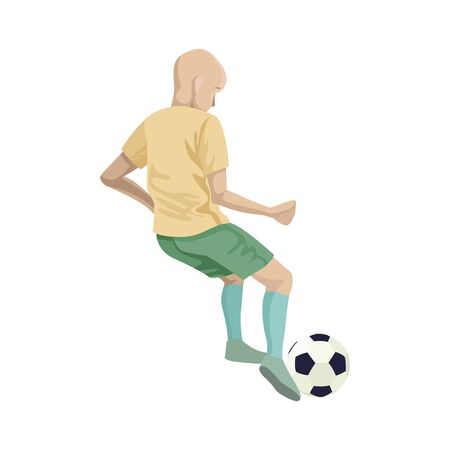 Child boy soccer player in training. Kicks the ball. Character vector illustration