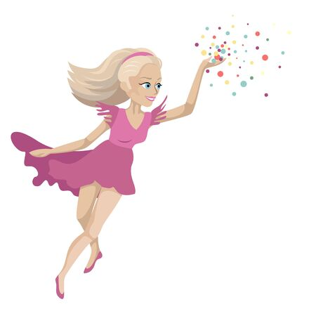 The magic fairy, the girl flies and conjures. Magic fairytale character. Vector illustration