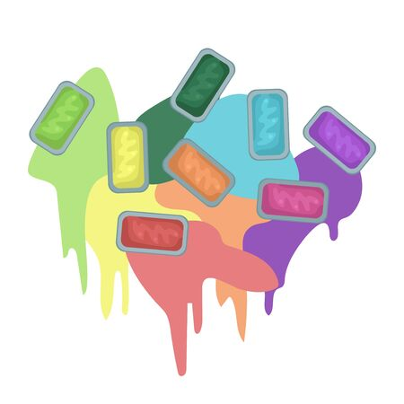 Cuvettes with different colors of paints. Vector illustration