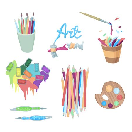 The artist s accessories - paints in cuvettes and tubes, splashes and drops of paints, platra and pencils. Vector illustration of design elements.