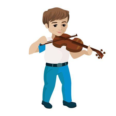 Young boy playing violin. Vector cartoon illustration Stock Illustratie