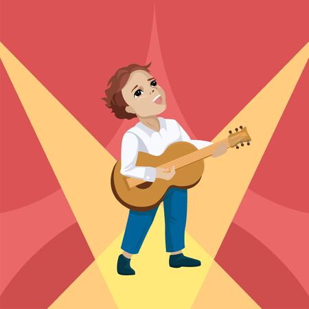 Young boy playing the guitar and singing on the stage. Vector illustration
