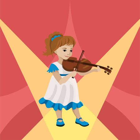 Young girl playing violin on the stage. Vector illustration