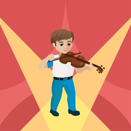 Young boy playing violin on the stage. Vector illustration