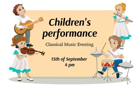 Invitation to childrens performance or musical concert. Vector illustration