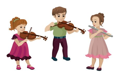 Boy and two girl playing violin and flute. Vector illustration Stock Illustratie