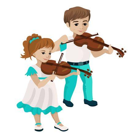 Boy and girl playing violin. Vector illustration