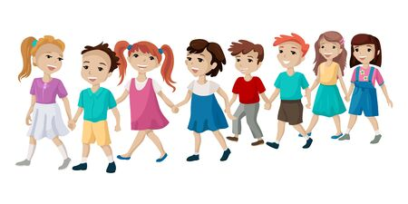 The group of children holding hands and cross the road. Vector illustration