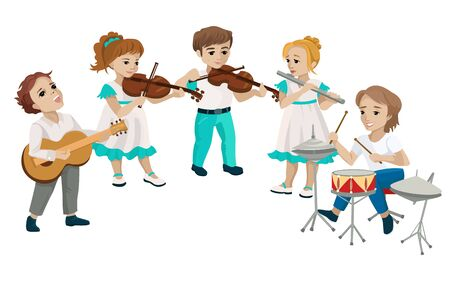 Childrens band playing music on classical instruments. Vector illustration
