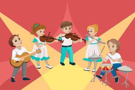 Children perform at a concert and play musical instruments. Vector concept illustration Vecteurs