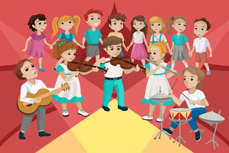 Children perform at a concert and play musical instruments. Vector concept illustration Stock Illustratie