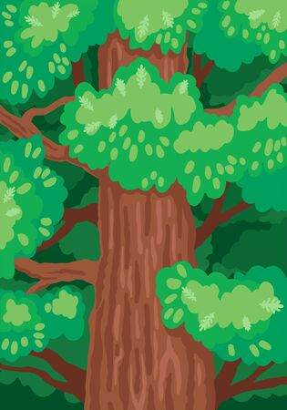 Oak tree trunk with green foliage. Vector illustration