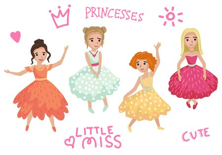Princesses in puffy dresses dancing at the ball. Vector illustration